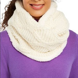 INC Cable Knit Shine Loop Scarf Faux Sherpa Lining